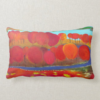 Landscape with red trees lumbar pillow