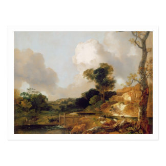 Landscape with Stream and Weir (oil on canvas) Postcard