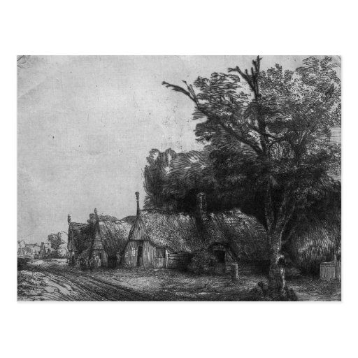 Landscape with Three Cottages, 1650 Post Card