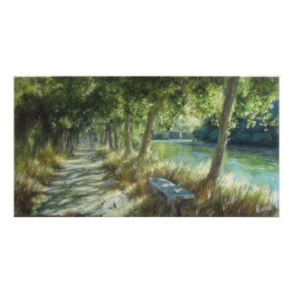 Landscape with to path close to to river poster