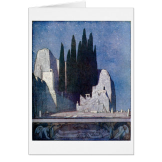 Landscape with tombs, rocks, and cypress grove card