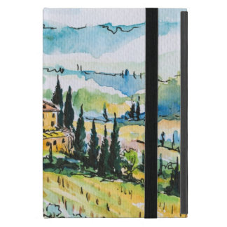 Landscape with town and cypress trees covers for iPad mini