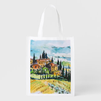 Landscape with town and cypress trees market tote