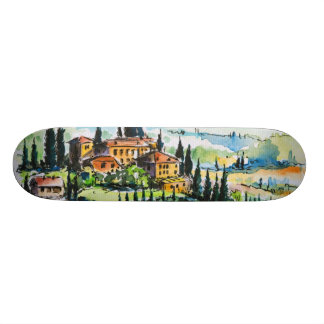 Landscape with town and cypress trees custom skate board