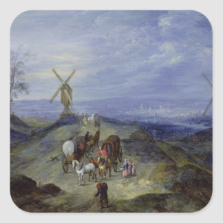 Landscape with Two Windmills, 1612 Square Sticker