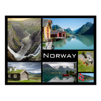 Landscapes in Norway black collage postcard