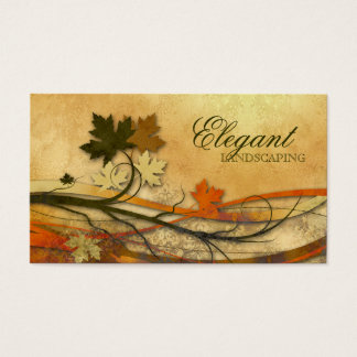 Landscaping Business Autumn Maple Leaves Vintage Business Card