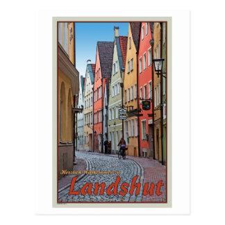 Landshut - Biker on Cobblestone Alley Postcard