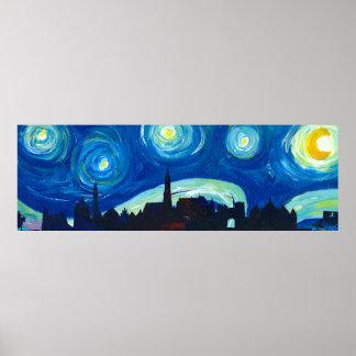 Landshut Panorama Skyline at Starry Night Poster