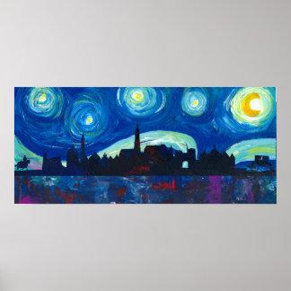 Landshut Skyline Silhouette at Starry Night Poster