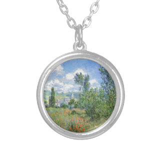 Lane in the Poppy Fields - Claude Monet Silver Plated Necklace