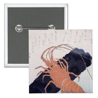 Langoustine with a Block of Charcoal, c.1830 2 Inch Square Button