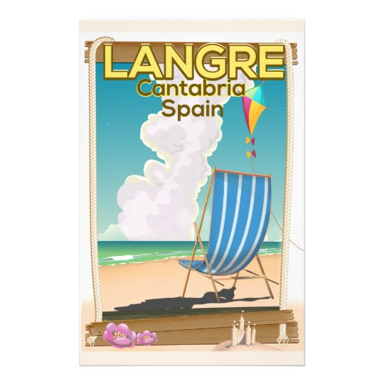 Langre, Cantabria Spain beach poster Personalized Stationery