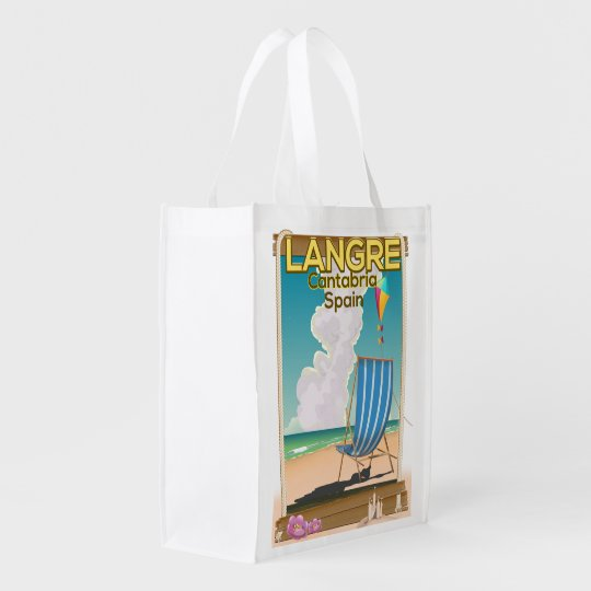 Langre, Cantabria Spain beach poster Reusable Grocery Bag