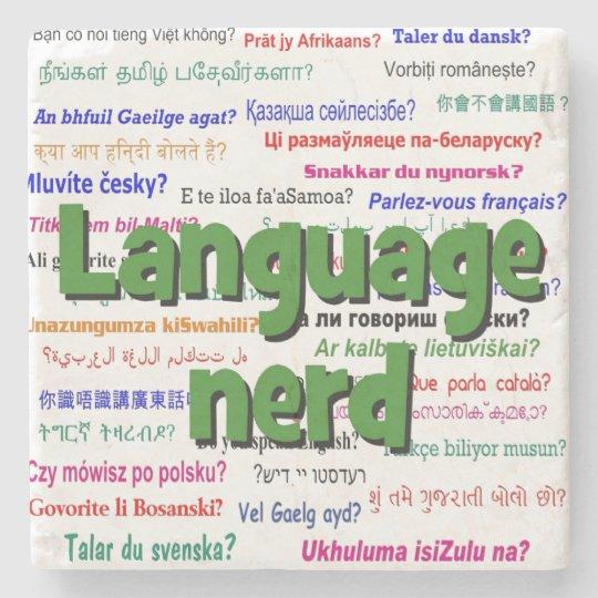 Language nerd and background green stone coaster