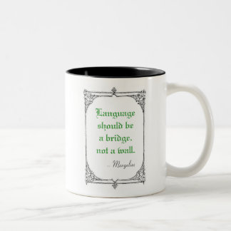 Language should be a bridge 3 Two-Tone coffee mug