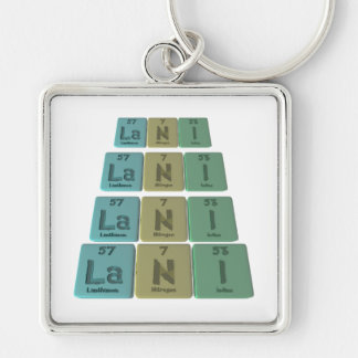 Lani  as Lanthanum Nitrogen Iodine Silver-Colored Square Keychain
