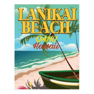 lanikai Beach Hawaii travel poster Postcard