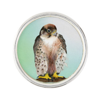 Lanner Falcon Bird Watercolor Falco biarmicus Lapel Pin