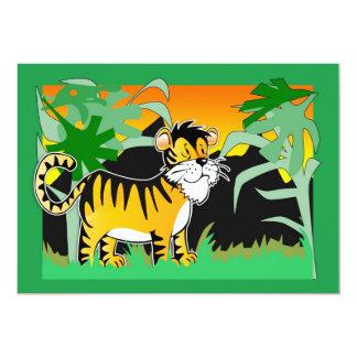 L'anniversaire Inviation des enfants avec le tigre Carton D'invitation 12,7 Cm X 17,78 Cm