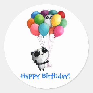 L'anniversaire monte en ballon l'ours panda sticker rond