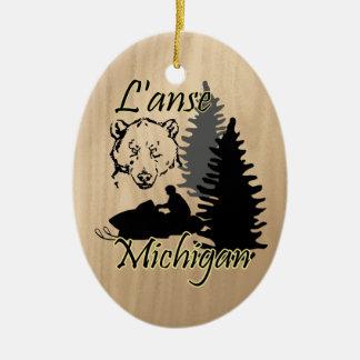L'anse Michigan Snowmobile Bear Ceramic Ceramic Ornament