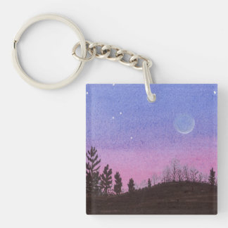 Lansing Moon and Stars Keychain