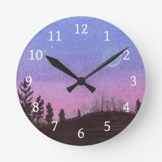 Lansing Moon and Stars Round Clock