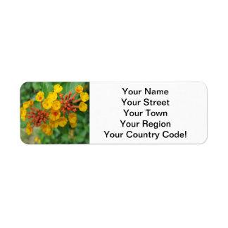 Lantana Garden Flower Yellow Return Address Label