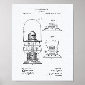 Lantern 1887 Patent Art White Paper Poster