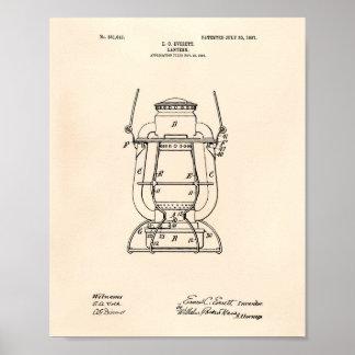 Lantern 1907 Patent Art Old Peper Poster