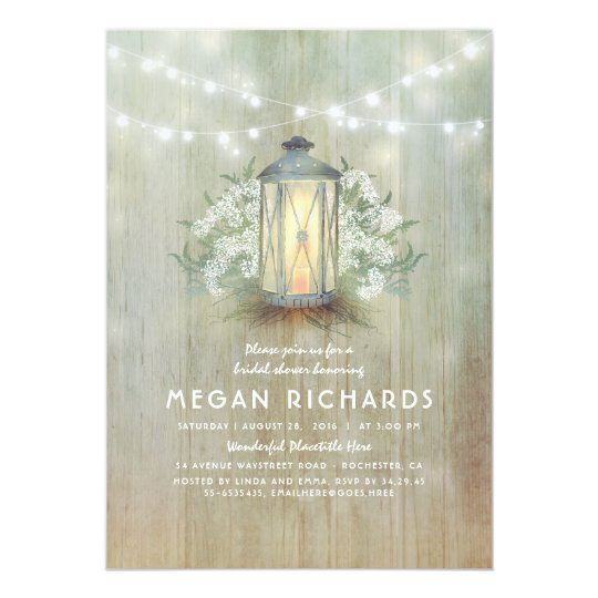 Lantern and Baby's Breath Rustic Bridal Shower Card