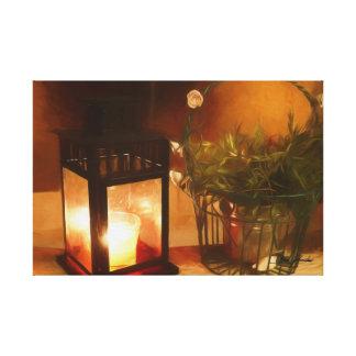 Lantern and Flowerpot Canvas Print