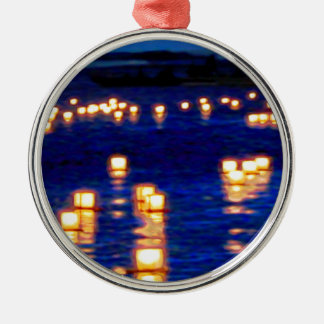 Lantern Floating Festival Silver-Colored Round Ornament