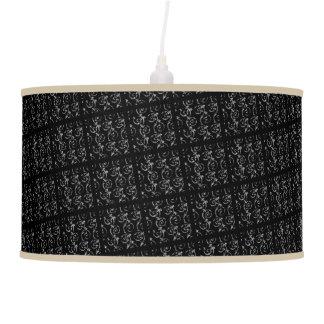 LANTERN LAMP W/ VINTAGE BLACK PRINT AND KHAKI TRIM