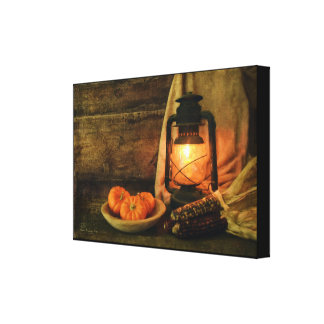 Lantern Light With Pumpkins and Corn Canvas Print