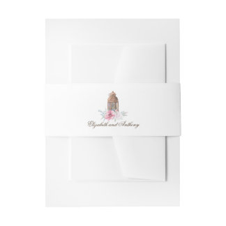 Lantern Lights and Pink Flowers Wedding Invitation Belly Band