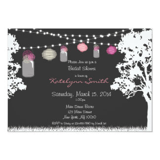 Lantern & Mason Jar Wedding Shower Invitation