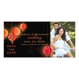 Lanternes de jardin de soirée épousant des photocarte