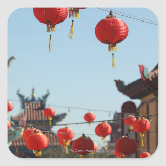 Lanterns in Chinatown Square Sticker