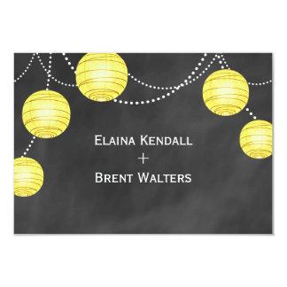"Lanterns on Chalk RSVP in Yellow 3.5"" X 5"" Invitation Card"