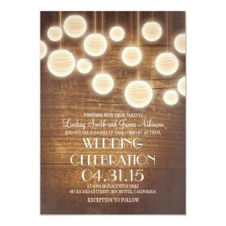 lanterns rustic country wedding invitation