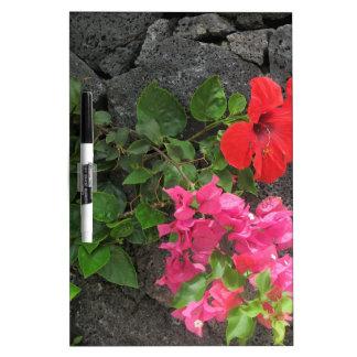 Lanzarote Lava Rock with Flowers Dry Erase Board