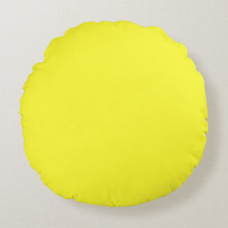 Lanzarote Lemon Acid Neon Yellow Tropical Romance Round Pillow