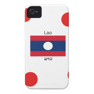 Lao (Laotian) Language And Laos Flag iPhone 4 Case-Mate Cases