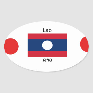 Lao (Laotian) Language And Laos Flag Oval Sticker