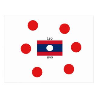 Lao (Laotian) Language And Laos Flag Postcard