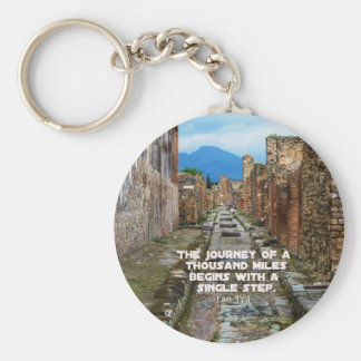 Lao Tzu JOURNEY travel quote Basic Round Button Keychain