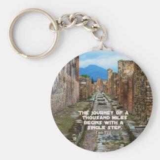 Lao Tzu JOURNEY travel quote Basic Round Button Keychain