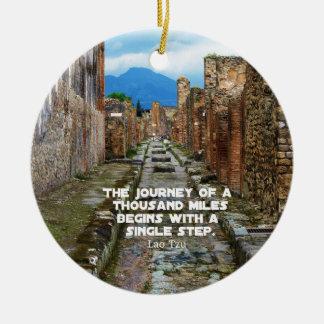Lao Tzu JOURNEY travel quote Ceramic Ornament